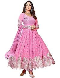 Purva Art Women's Georgette New Dress Wedding Wear (PA_8252_Baby Pink_Cut Work_Anarkali_Salwar Suit)