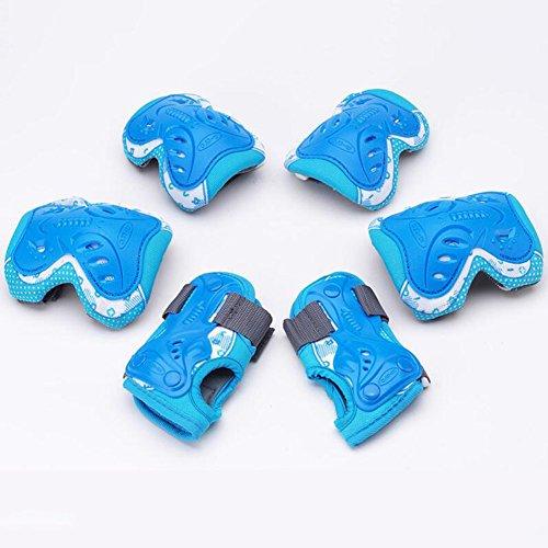 WX xin 6 In 1 Schutzausrüstung Knie Schutzbogen Verstellbar Armbinden Schutz Kind Sicherheit Rad BMX (Farbe : Blau, größe : - Gel Skateboard Räder