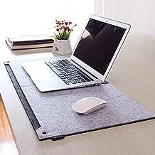 Alfombrilla de ratón multifunción,ANGTUO Escritorio de escritura fijo Alfombrilla de cuaderno de feltro con bolsa de almacenamiento,lápiz insertado en la oficina del hogar esencial,gris