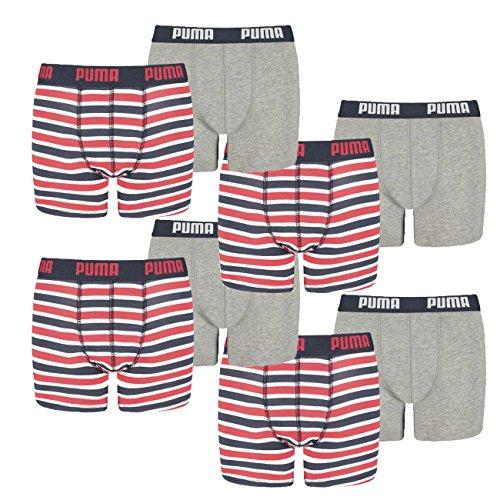 Puma Junior Boys Boxershort Basic Boxer Printed Stripe 8er Pack, Farbe:Ribbon Red (981), Grösse:176 - Shorts Boxer Junior