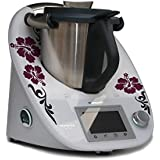 Grafix - Adhesivo decorativo para Thermomix TM5, diseño de hibiscos, color burdeos y gris antracita