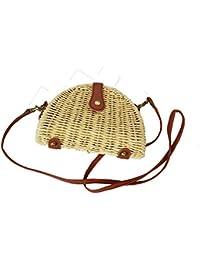 WANGXN Womens bolsos de paja Hombro Bunched hierba mano de la playa de punto
