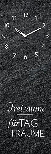 Wanduhr aus Glas, Spruch: Freiräume für Tagträume, schwarz mit Schieferoptik, 20x60 cm von Eurographics