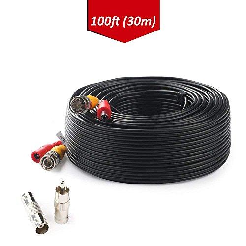Tonton Video Strom Kabel 30M BNC Kabel 100ft DC Video Verlängerungskabel mit Power für DVR Videoüberwachung Überwachungskamera Sicherheitssystem + BNC RCA Adapter -