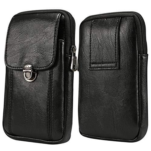 ykooe PU Leder Reißverschluss Handytasche 7inch Größe Gürteltasche mit Gürtelclip und Kartetasche als Geldbörse Geschenk Smartphone Ausflug Jagd und Wandern(14cm x 18cm x 3cm)