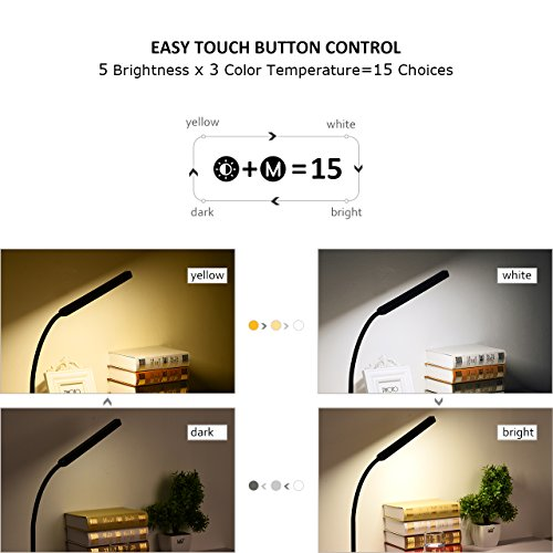 TOPELEK LED Desk Lamp 3 Color Modes x 5 Levels Dimmer Table Lamps 8W Eye-care Dimmable Touch Sensitive Control Gooseneck Reading Lamp for Office, Home, Reading, Study, Work