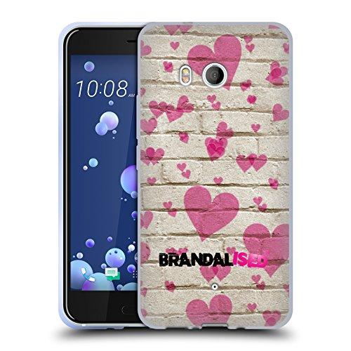 Preisvergleich Produktbild Offizielle Brandalised Herz Muster Banksy Kunst Straßenkünstler Soft Gel Hülle für HTC U11 / Dual