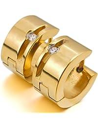 MunkiMix Acero Inoxidable Semental Aro Hoop Huggie Pendientes Cz Cubic Zirconia Circonita Negro Oro Dorado Tono Hombre
