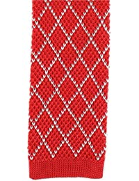 Red / White Diamond Silk Skinny cravate en tricot de Michelsons of London