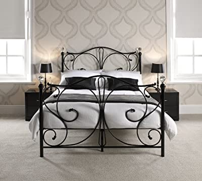 FLORENCE DOUBLE BLACK METAL BED FRAME WITH CRYSTAL FINIALS by Double Beds produced by LPD Furniture by Home Discount - quick delivery from UK.