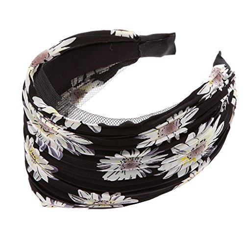 Bandeau Large Serre-tête Accessoire pour Cheveux Motif de Tournesol Noir