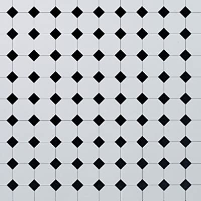 Dolls House Flooring Paper - Octagonal Tiles Plain Black