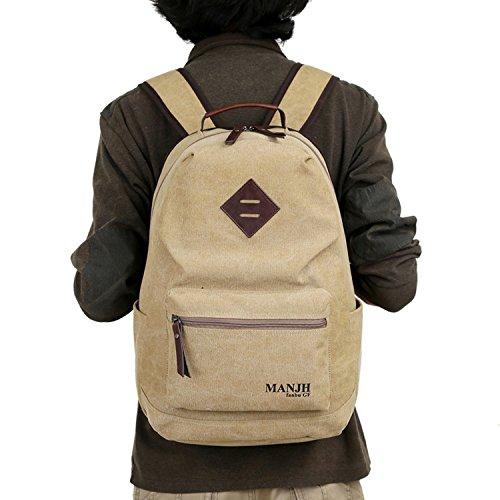 outreo Herren-Leinwand Schule Daypack Reise Rucksack Sport Vintage Frauen Tag Pack über Schultertasche für Casual Wandern wenkend Outdoor Rucksack Rucksack Beige