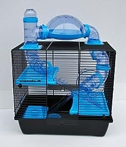 Interzoo Teddy Lux Rocky Cage pour hamster ou souris avec ensemble de tubes bleus