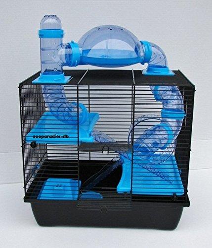 Nagerkäfig,Hamsterkäfig,Zwerghamsterkäfig Rocky,Teddy Lux,Hamster,Maus,Nager,Käfig,Mäusekäfig incl. Röhrensystem in blau