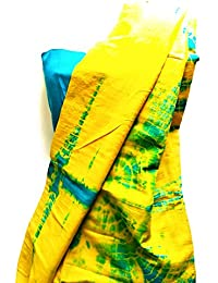 PRETTY DAMES Yellow And Blue Shibori Print Cotton Saree