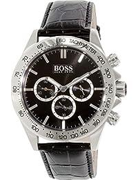 e19f15d1b6c1 Hugo Boss 1513178 del hombre negro piel cuarzo reloj