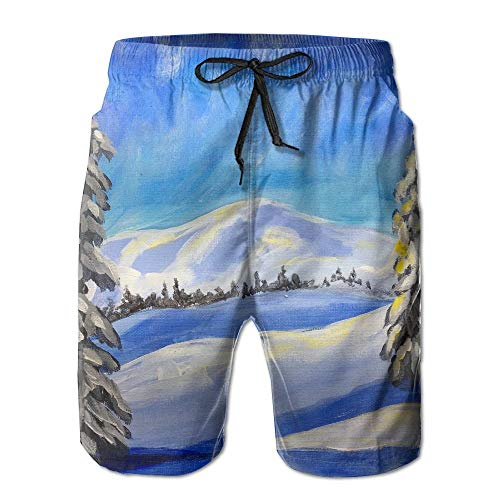 ZHIZIQIU Men's Shorts Swim Beach Trunk Summer Snow Land Tree Sun Painting Fit Classic Shorts with Pockets - XL (Infant Snow Pants)