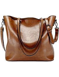 Sacs à main Femme, Supstar sacs à bandoulière PU cuir Poignée supérieure Cartable Messager Sac - Marron