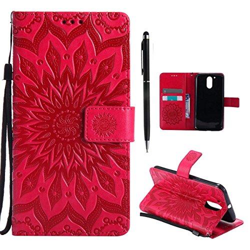 Preisvergleich Produktbild Hancda Hülle für Moto G4 Play Hülle Leder Flip Case,  Schutzhülle Ledertasche Handyhüllen Cover Magnet Dünn Geldbörse Taschen Stoßfest Handytasche für Lenovo Moto G4 Play, Blume Rot