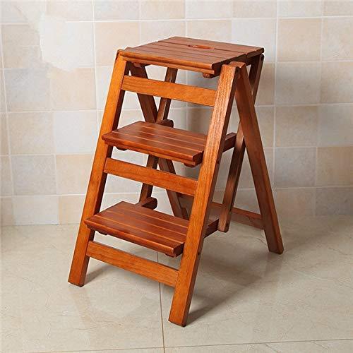 Cherry Küche Stuhl (CZWYF Multifunktionsleiter Hocker Stuhl Sitzbank Holz Tritthocker 3-Fach klappbar für alle Aufgaben rund um Küche, Büro, Bad (Color : Cherry Color))