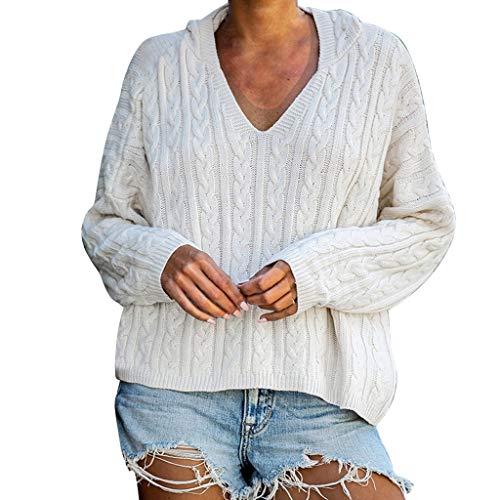QingJiu Damen Hoodies Strickpullover Reine Farbe Sweatshirt Mode Langarm Niedlich Tops -