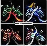 UK Verkäufer, wasserdichte LED Schnürsenkel in verschiedenen Farben:Grün, Rot, Gelb, Orange, Blau, Pink, Gelb/Grün, Blau/Pink, Grün/Pink, Multicolor, - mehrfarbig - Größe: One Size