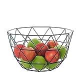 Schwarzer Metallkorb für Obst, dekorative Obstschale