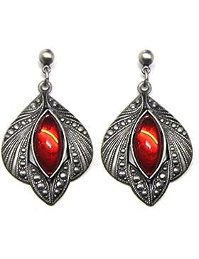 Ohrringe Medieval Gothic antik silberfarben mit roten Glassteinen aus Tombak
