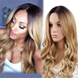 ATOZWIG Synthetic Wigs for Black Women Blonde Ombre Wig Natural Cheap Hair Wig Blonde Wig Dark Roots Long Curly Female Fair