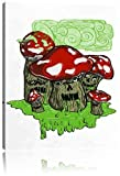 Drooling Shrooms white Leinwandbild Bild auf Leinwand, XXL riesige Bilder fertig gerahmt mit Keilrahmen, Kunstdruck auf Wandbild mit Rahmen, günstiger als Gemälde oder Ölbild, kein Poster oder Plakat, Format:120x80 cm