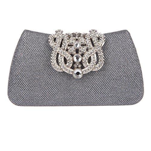 Bonjanvye Bling Crown Glitter Purse for Girls Evening Clutch Bags Gray
