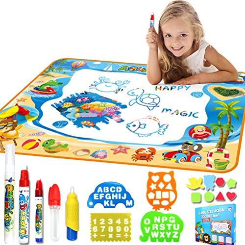 """Freshmarque Aqua Magic Doodle Mat Large Educational Water Drawing Mat Painting Board with 4 Magic Pens, 1 Magic Brush, 4 Drawing Templates and 8 Drawing Molds for Boys Girls Size 39.37"""" x 27.56"""""""