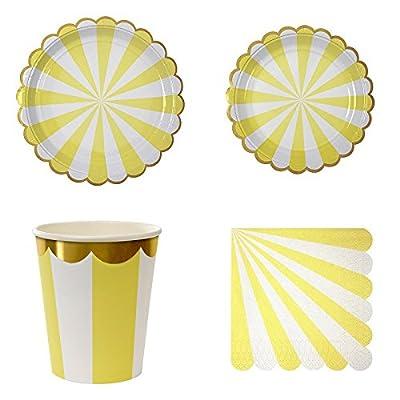 DANMEI Einweggeschirr-Set Tafelgeschirr Supplies gestreift Pappteller Becher Servietten Party Hochzeit Karneval 44 Stück/Set