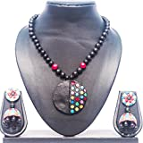 #2: Pentacrafts Terracotta Art designed Women Girl Necklace Set, Color: Multi