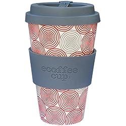 Ecoffee Cup Swirl Gris, Rojo, Color blanco 1pieza(s) taza y tazón - Taza/vaso (Solo, 0,4 L, Gris, Rojo, Color blanco, Fibra de bambú, Silicona, 1 personas(s), 1 pieza(s))