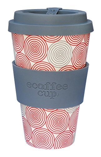Ecoffee Cup Mug Swirl Gris, Rouge, Blanc 0,4 l, Fibre de Bambou Silicone 1 Personne 1 Pièce