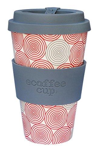 Ecoffee Cup Swirl Grau, Rot, Weiß 1Stück (S) Tasse und Becher–Tasse/Becher (Nur, 0,4l, Grau, Rot, Weiß, aus Bambus, Silikon, 1Menschen (S), 1Stück (S))