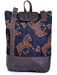 Literacy India Indha Hand Block Print Denim'S Fashionable Back Pack Bag For Women