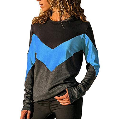 VRTUR Damen lose V-Ausschnitt Langärmliges Hemd mit unregelmäßigem diagonalem Kragen T-Shirt(Orange,M)