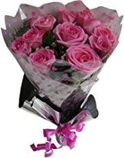 PINK POSY Hand Tied Bouquet Wrapped in Cellophane Packing with Green Fillers & Ferns (12 Pink Roses)