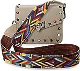 TRENDY italienische Damentasche Schultertasche Umhängetasche bunte Nieten Azteken – Muster vera pelle alt - rosa