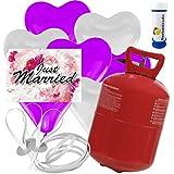 """30 Herz Luftballons freie Farbwahl mit Helium Ballon Gas + 30 Weitflugkarten """"Just Married Blume"""" + Gratis Doriantrade Seifenblasen 60 ml Hochzeit Komplettset"""