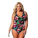QingJiu Frauen Plus Größe Einteilige Monokini Bademode Push Up Bikini Badeanzug Beachwear(Schwarz,XX-Large)