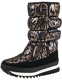 74476ba4603 Shenji Zapatos de Mujer de Invierno - Botas de Nieve Media Pierna  Antideslizante H9489