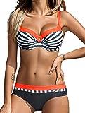 AHOOME Damen Bikini Push Up Gepolstert Streifen rayures Triangel Brasilianische Bademode Bikini-Sets(Orange,L)