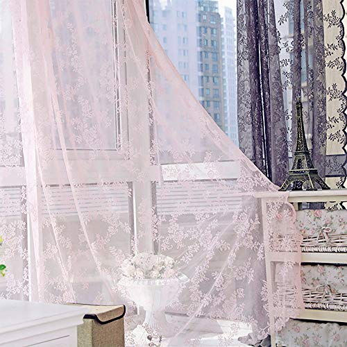 Hukz Doppelter Spitzenvorhang,Floral schiere Vorhang Tüll Fenster Behandlung Voile Drape Valance 1 Panel Stoff(L x W: 180cm x 145cm) (rosa) -