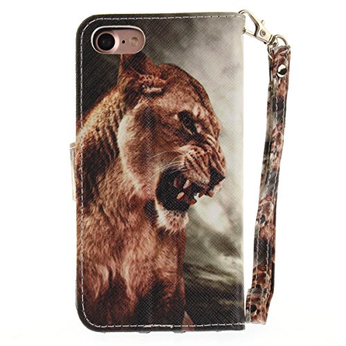 "MOONCASE iPhone 7 Coque, [Colorful Painting] Anti-choc TPU Protection Housse Lanyard PU Cuir Portefeuille Case pour iPhone 7 4.7"" Fashion Lion"