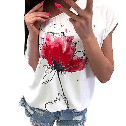LOPILY Sommer T-Shirt Bluse Damen Lässige Blumendruck Oberteile Bluse Kurzarm Mode Lose Bluse Tee Elegant Sommer Kurzarmshirt Casual Tunika Rundhals Oberteil Shirt Tops(Weiß,L)