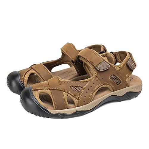 Sandali sportivi da uomo sandali in pelle punta chiusa scarpe fisherman antiscivolo arrampicata sandalo marrone chiaro 42 eu